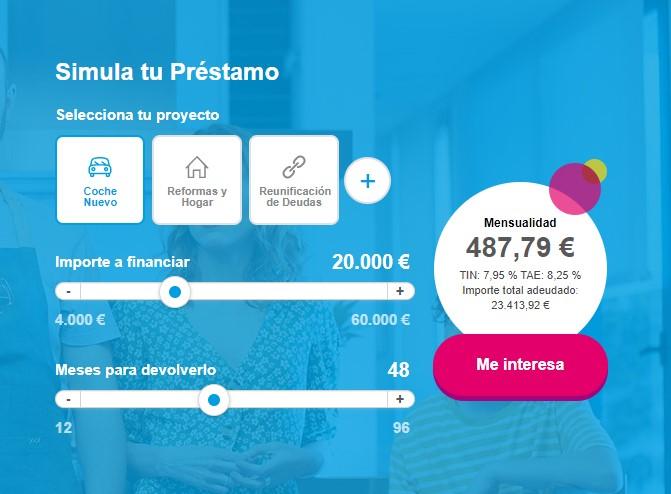 Ejemplo del simulador de préstamo Cetelem