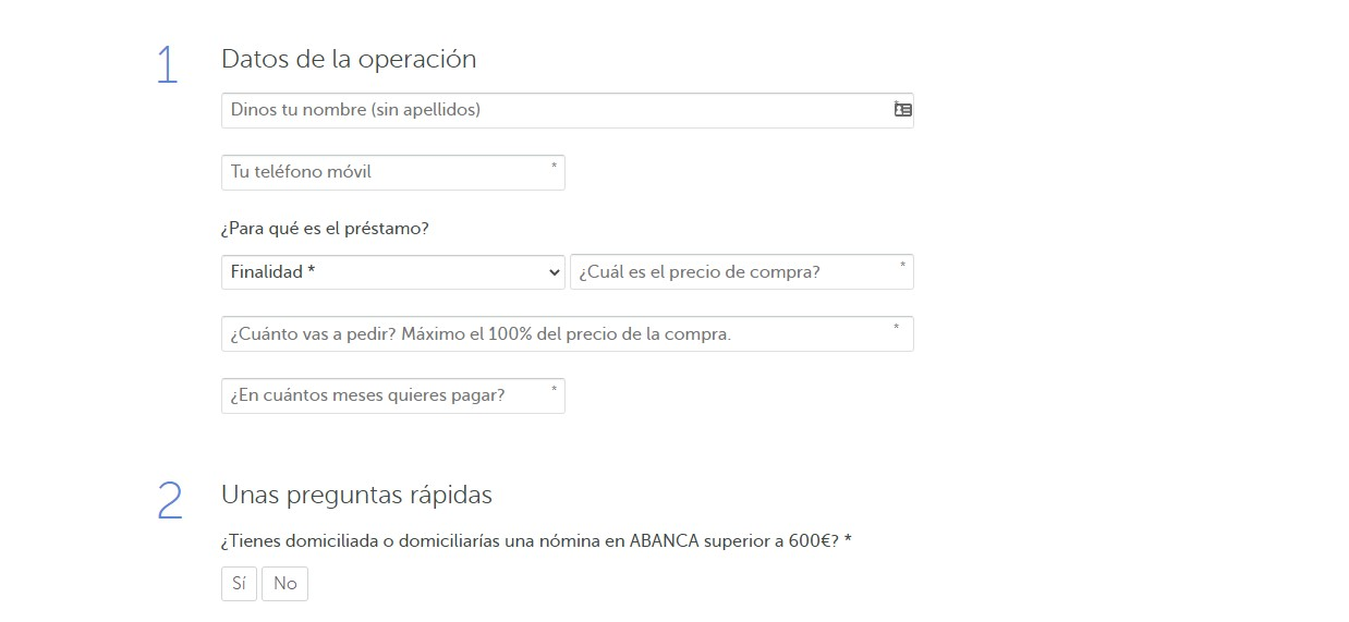 Formulario del simulador de préstamos ABANCA