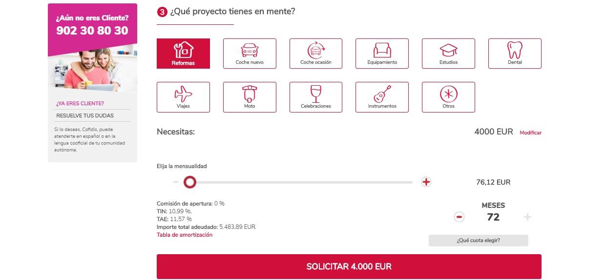 Destino y mensualidad del simulador de préstamos Cofidis
