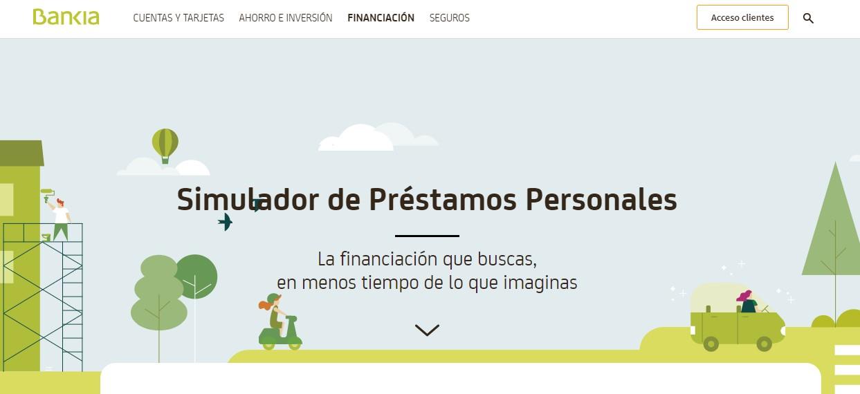 Página web del simulador de préstamos de Bankia