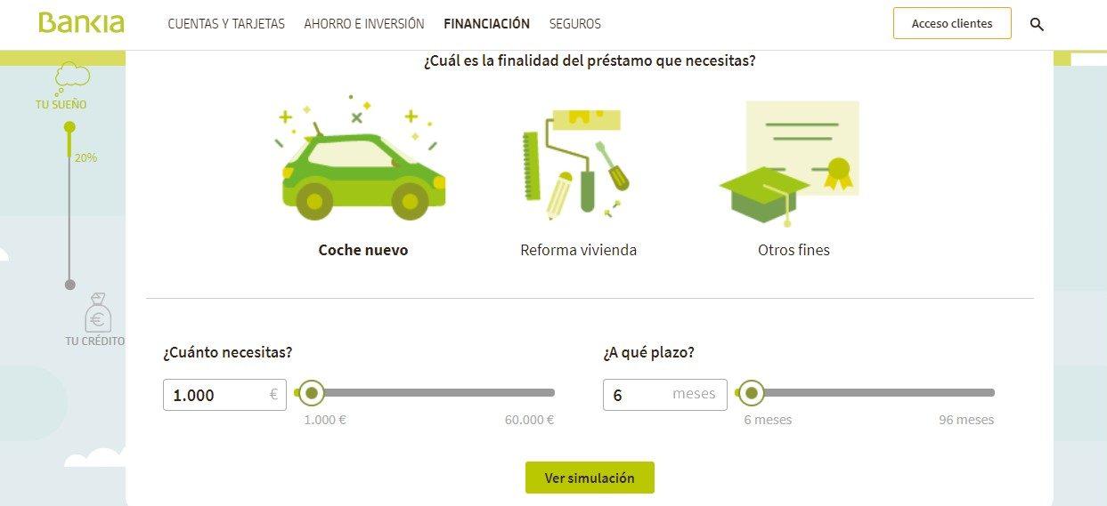 Elección del objeto de financiación del simulador de préstamos de Bankia