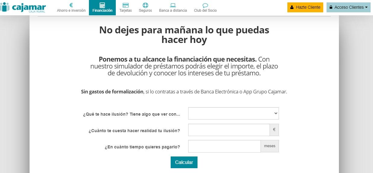 Simulador de préstamo Cajamar